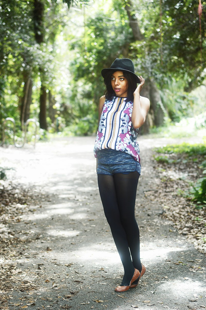 Miami Fashion Blogger Anais Alexandre of Down to Stars in a Mossimo top, hat and flats with H&M shorts