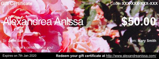 Alexandrea Anissa Gift Certificates