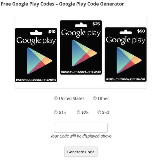 The Google Play Gift Card Code Generator allows you to create unlimited vayparhyiver.cf script is an easy way to find new gift card codes without the hassle of surveys or risk of viruses from downloading a code .