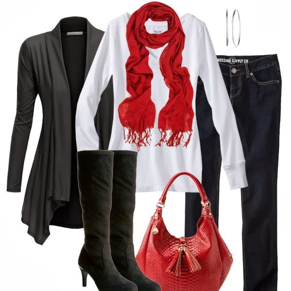 Colorful red scarf, white blouse, black cardigan, handbag and long boots for fall