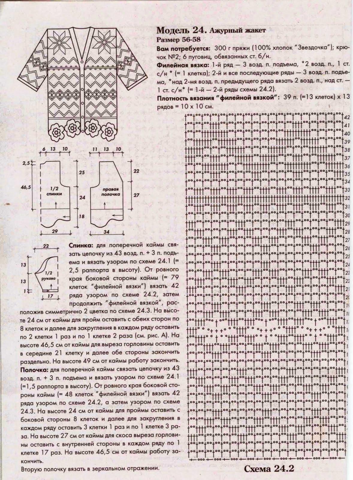 Кардиганы филейного вязания крючком схемы