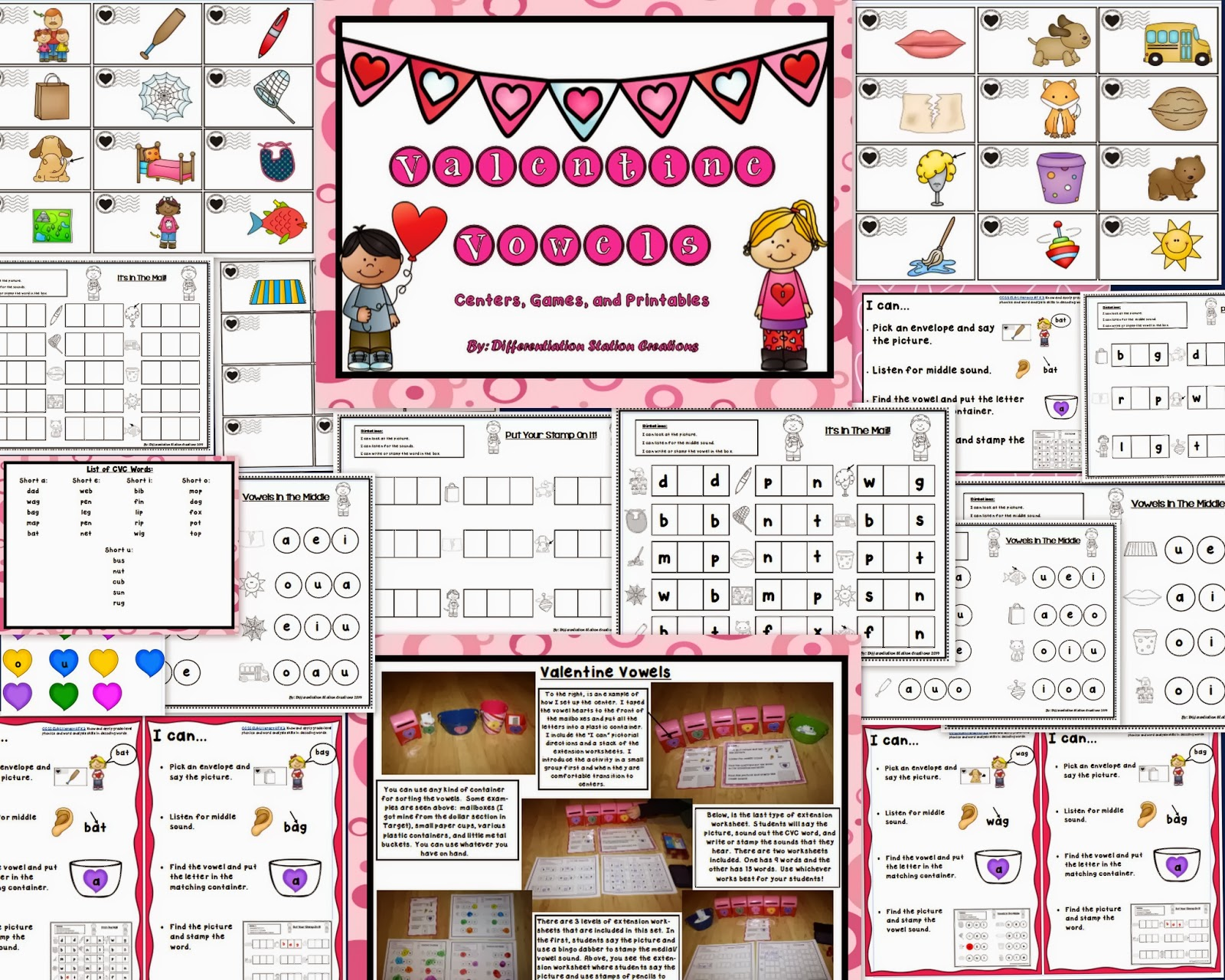 http://www.teacherspayteachers.com/Product/Valentine-Vowels-CVC-Words-Medial-Vowel-Sounds-Center-Printables-1103033