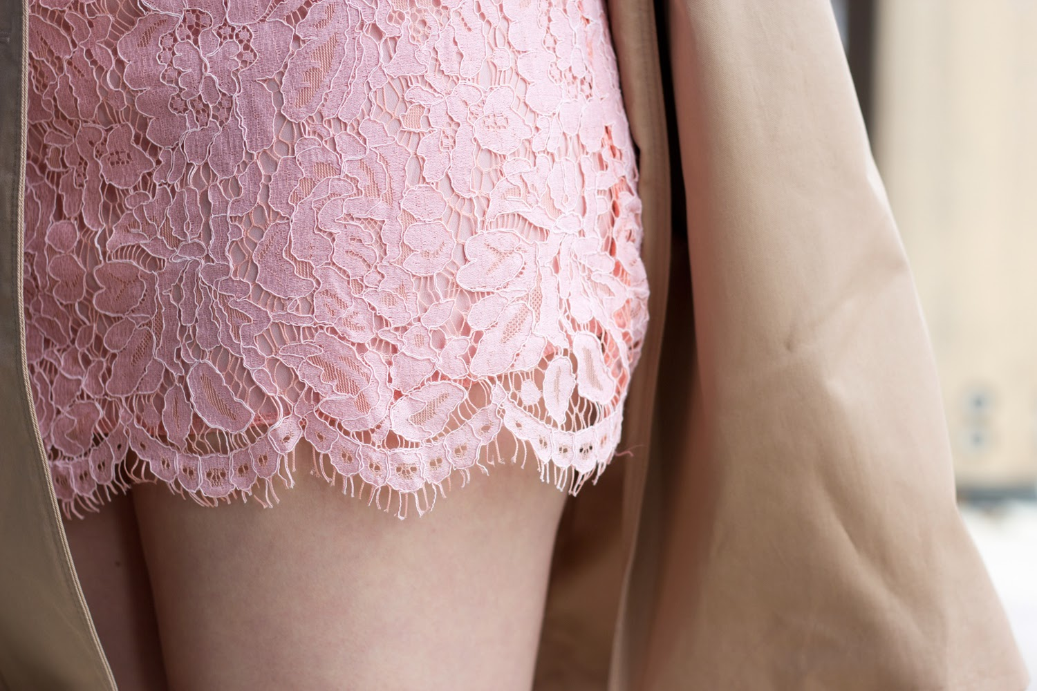 Pink-Lace-Dress, Trench-Coat,  Spring-Look