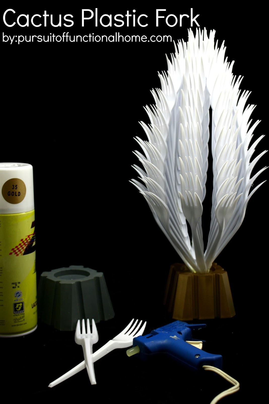 Diy home decor cactus plastic fork pursuit of for Crafts with plastic spoons and forks