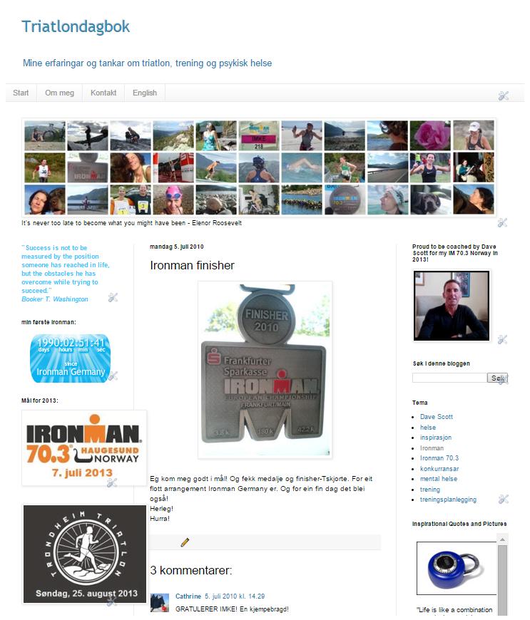 Min første blogg (2009-2012), mest om triatlon og helse: