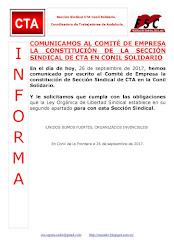 COMUNICAMOS AL COMITÉ DE EMPRESA LA CONSTITUCIÓN DE LA SECCIÓN SINDICAL DE CTA EN CONIL SOLIDARIO