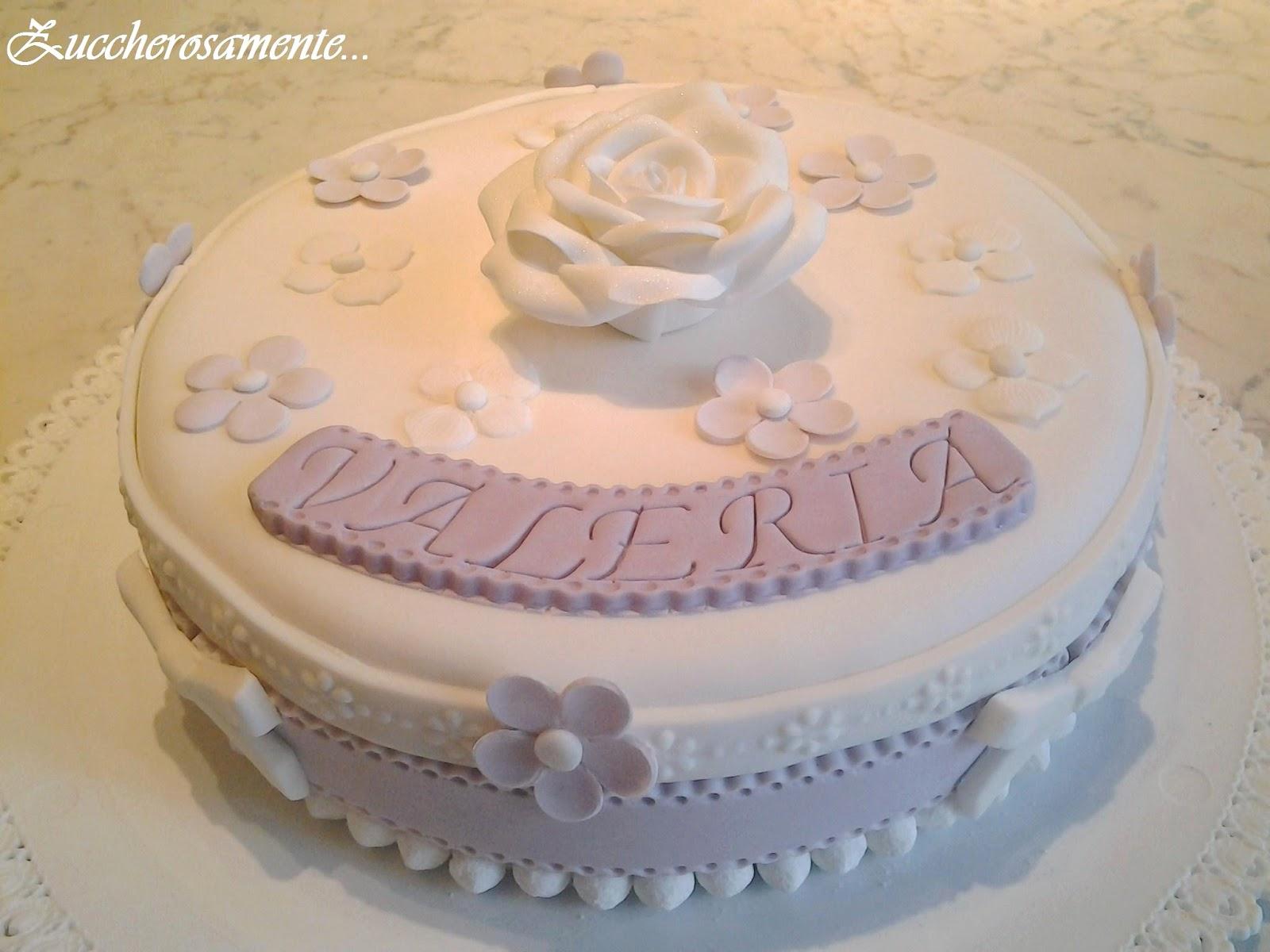 Zuccherosamente torta cresima lilla e bianca con rosa - Decorazioni per cresima ...