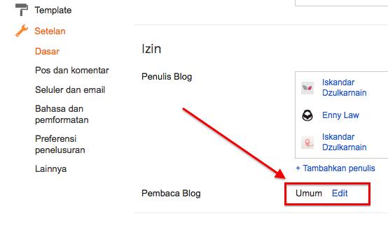Cara Mengatur Privasi Blog di Blogger