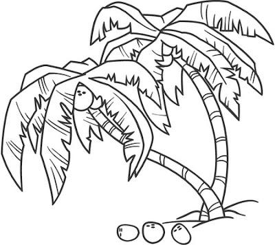 Palmeras con cocos para colorear y pintar ~ Colorea el dibujos