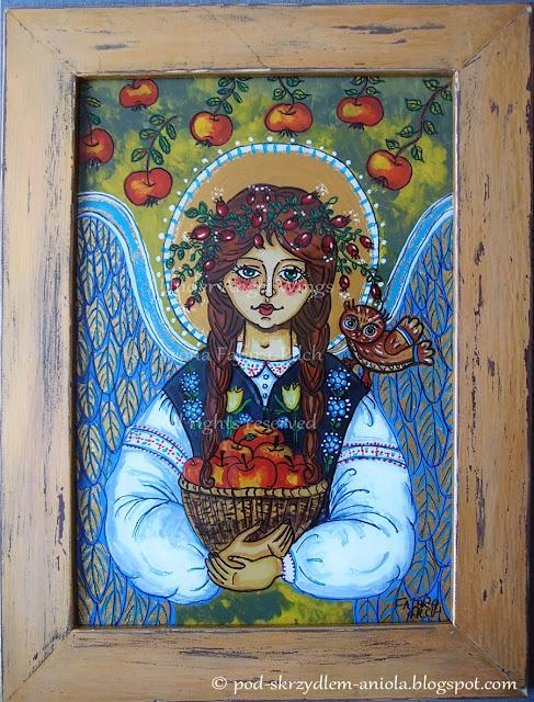 Obraz jesienny, anioł z sową