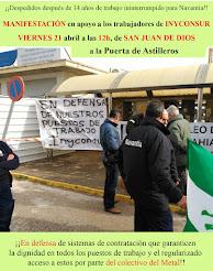 Manifestación en apoyo a los trabajadores de Inyconsur, viernes 21 de abril a las 12 horas en Cádiz
