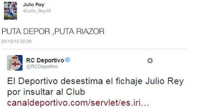 El Deportivo rechaza a un jugador por un tweet contra el club