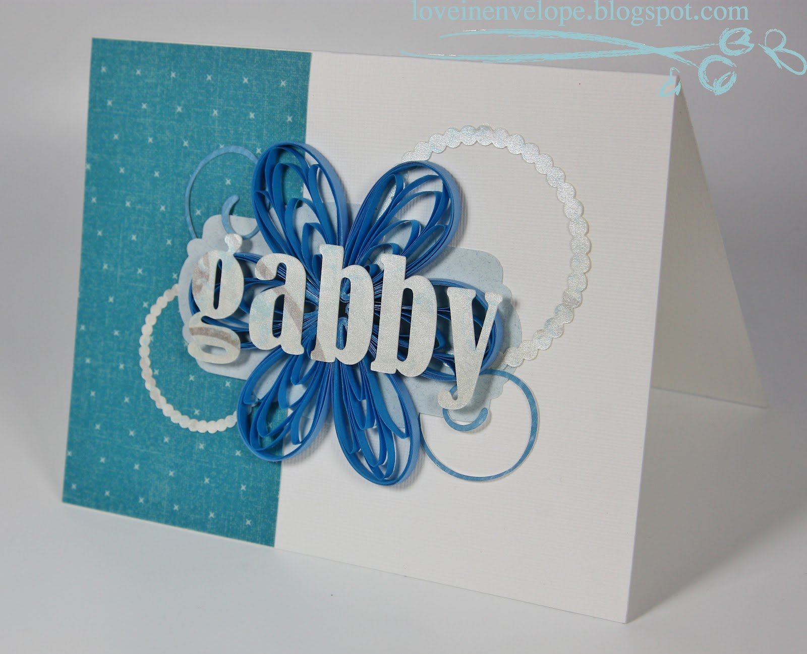 love in envelope blue quilled flower for gabby