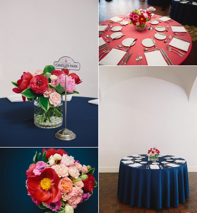 Floral arrangements at the wedding reception