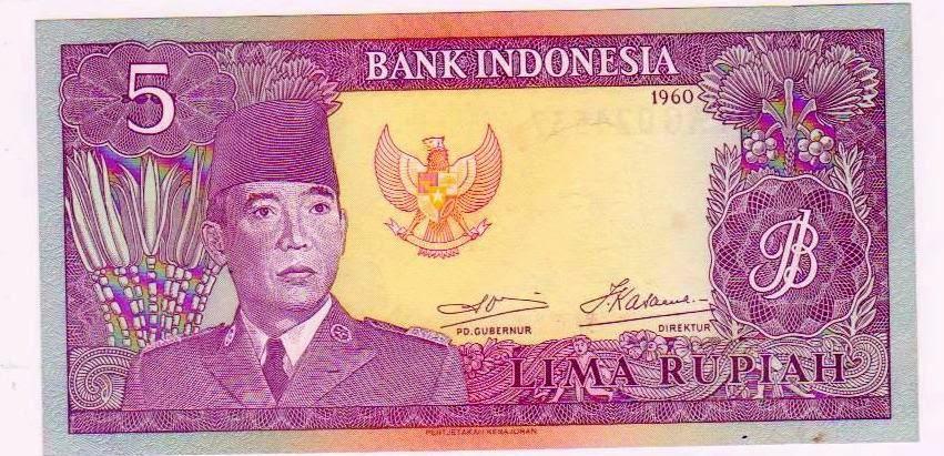 uang kuno Seri Soekarno tahun  1960 Pecahan 5 rupiah