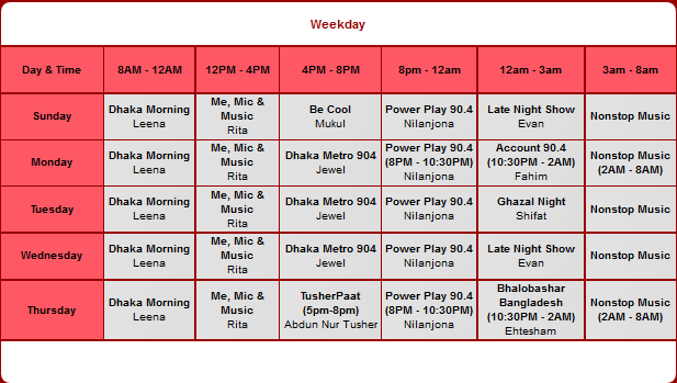 Dhaka FM 90.4 Program Schedule ~ BD Show Time