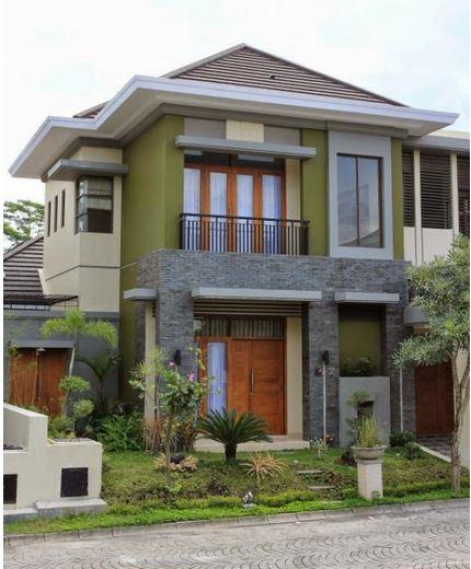 model desain rumah mewah minimalis 2 lantai tampak depan