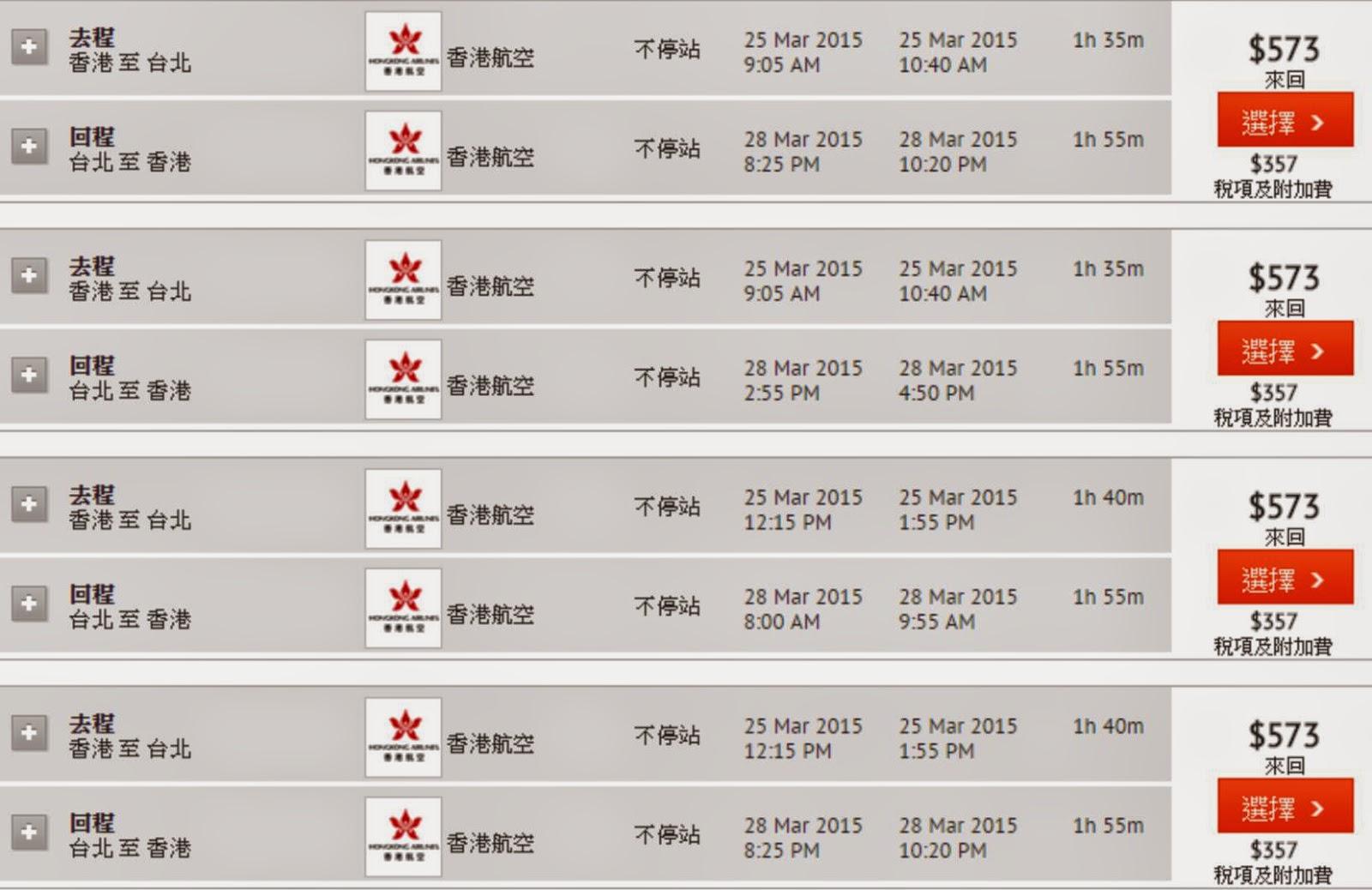 Hong Kong Airline香港飛台北 $573(連稅$930),航班時間選擇多,仲好靚仔添