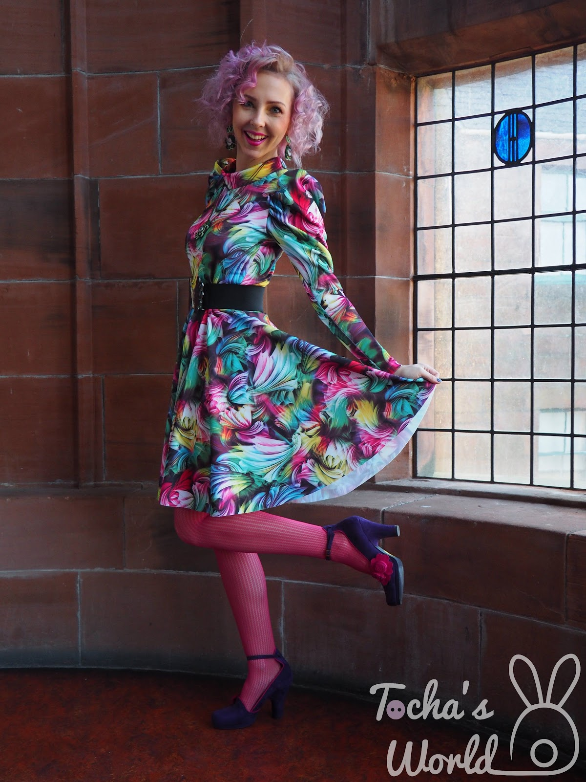 Abakhan, Charles Rennie Mackintosh, circle, digital, dress, earrings, ethical fashion, leg-O-mutton, Lush, pendant, print, Ruby Shoo, Scotland Street School Museum, scuba, sleeve, soutache, vegan, Victorian, Tocha's World