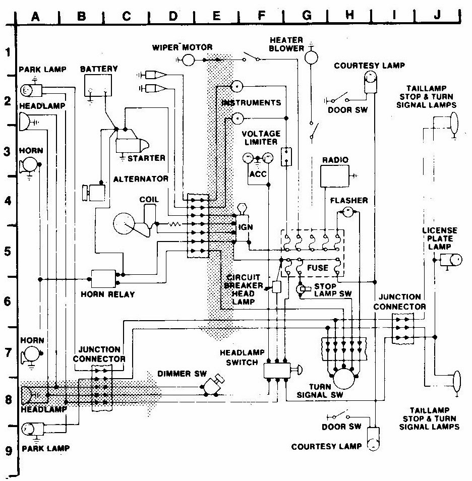 Fundamentals To Understanding Automobile Electrical And Vacuum Figure 1 Schematic Wiring Diagram 6 The Simple System Has Been Divided Into Grids So That An Index Can Be Used Find Dimmer Switch Look In Grid E8