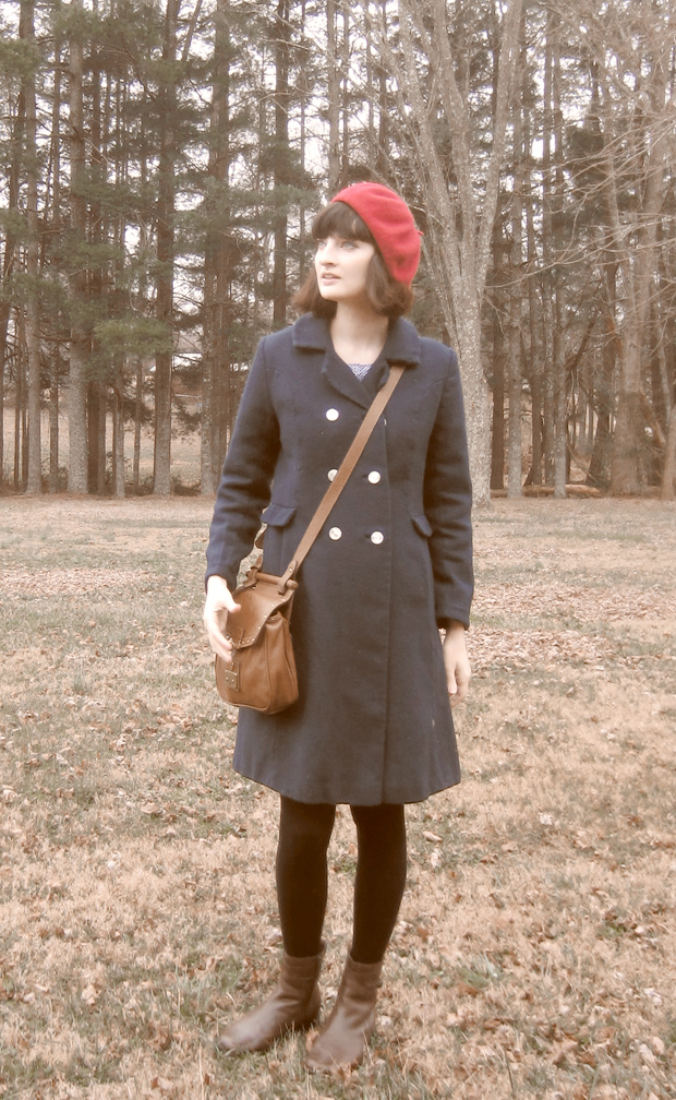Red wool beret and vintage blue coat