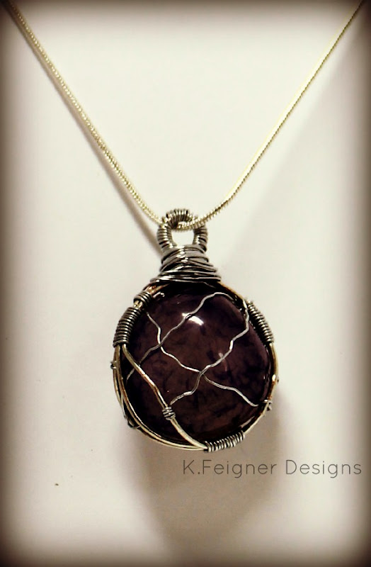 The Crafty Housewife: Purple Wire Wrapped Stone Pendant