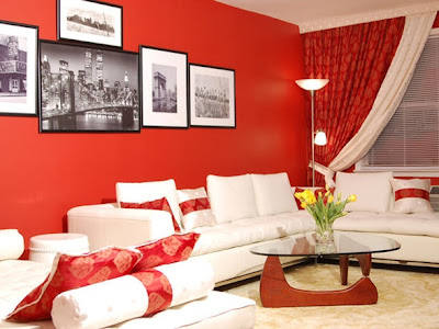 sala rojo y blanco