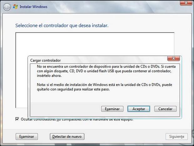 error en la instalación de windows con el controlador de USB 3.0