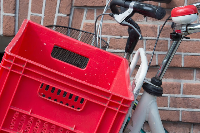 red bicycle basket and bell