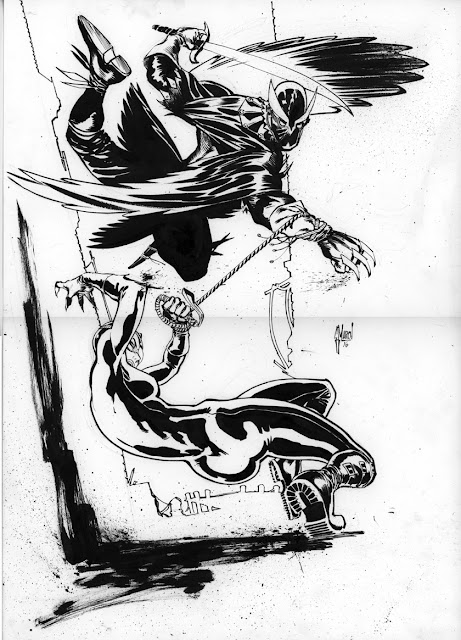 CATWOMAN 9 cover: sketch, scan and final art by Guillem March