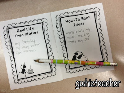 gwhizteacher, writer's idea book, writer's tools