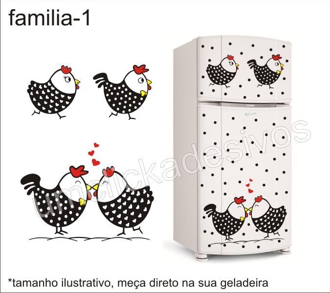 Adesivo De Olhos Para Biscuit ~ Um click adesivos Adesivo para geladeira familia galinha angola