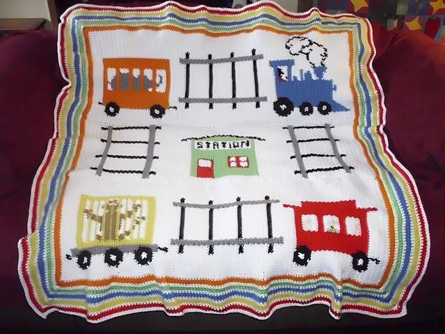 knitwits corner: BABY BOY CROCHET TRAIN BLANKET