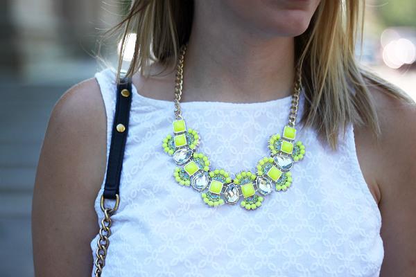 neon statement necklace, t & j designs, white and neon
