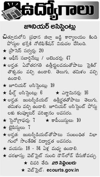 Chittoor District Court Jobs 2015