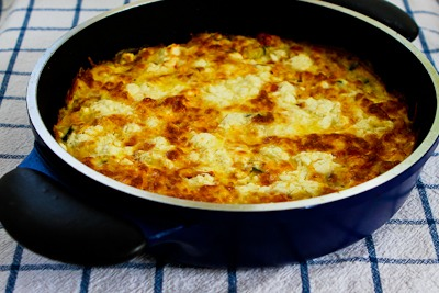 Recipe for Greek Frittata with Zucchini, Tomatoes, Feta, and Herbs