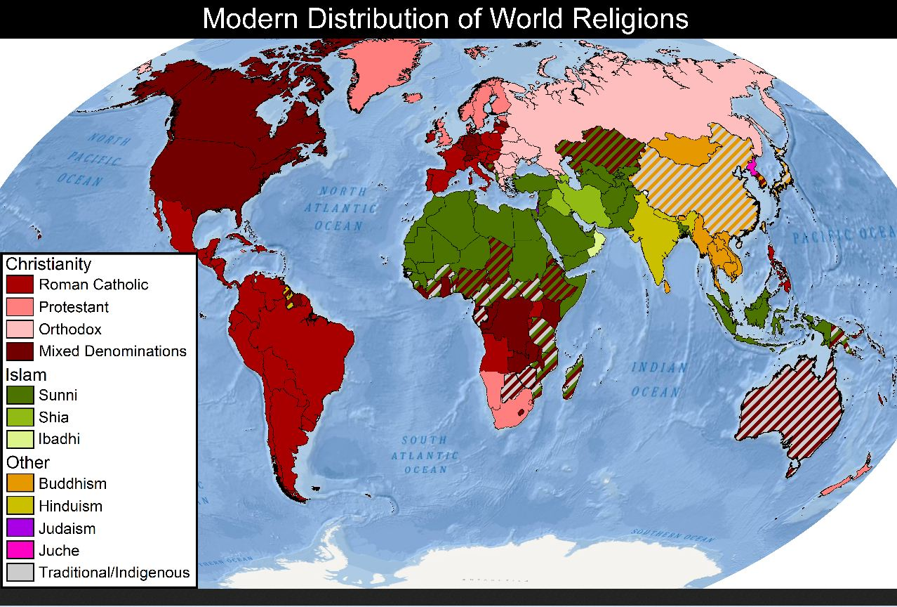 World map religion debunking christianity world distribution of religion and science gumiabroncs Image collections