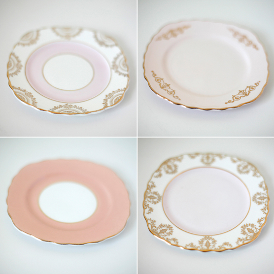 pink and gold tea plates