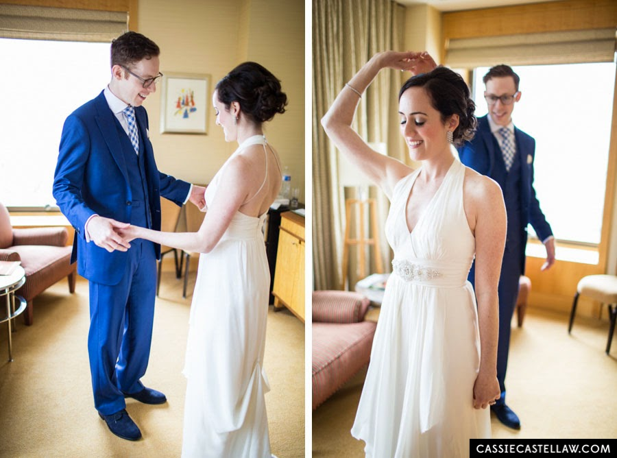 Groom twirling bride during first look. NYC Lifestyle wedding photography by Cassie Castellaw. www.cassiecastellaw.com