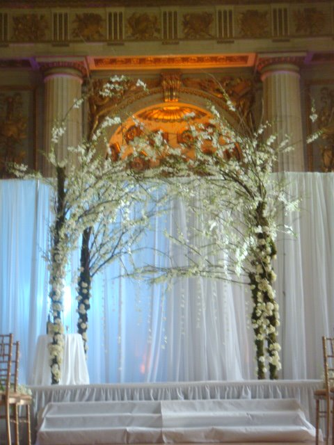Our jecular wedding a chuppah to call our own weddingbee for Altar wedding decoration