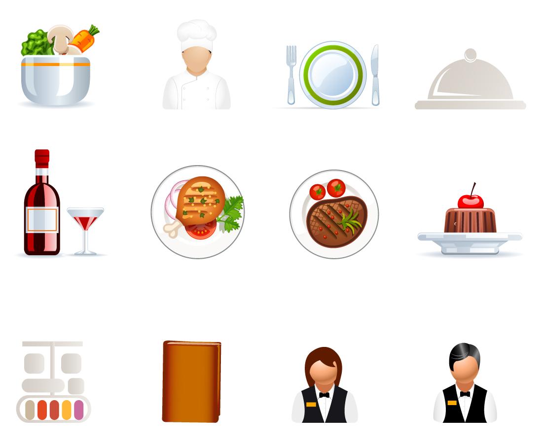 カフェ レストランのアイコン Cafe and Restaurant icons イラスト素材