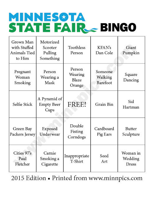 2015 minnesota state fair bingo card