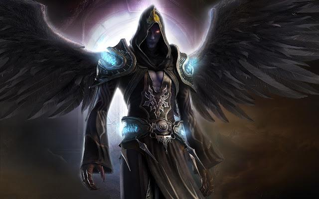 Black Angel Fantasy Warrior CG Artwork Hero Desktop Background Wallpaper