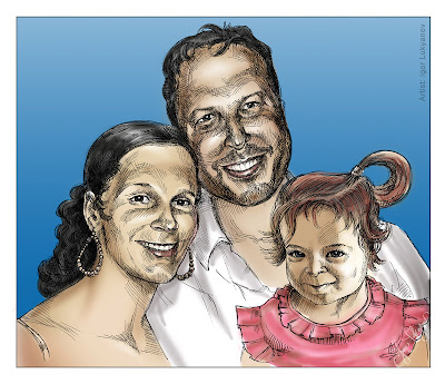 American family portrait (birthday gift), couple and their kid