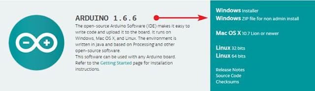 Halaman pemilihan OS IDE Arduino
