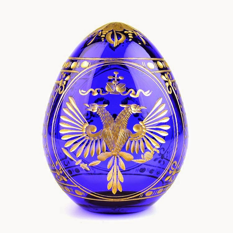 Russian Crest Blue Crystal Egg with Gold
