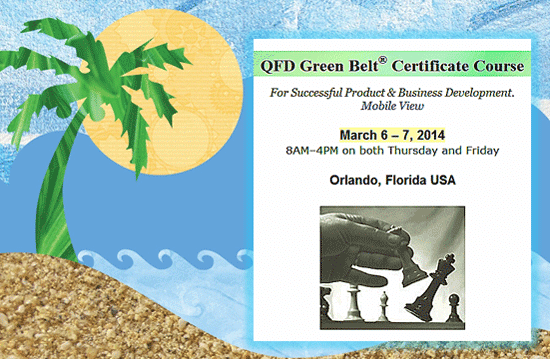 (QFD Green Belt® Course in Orlando FL)