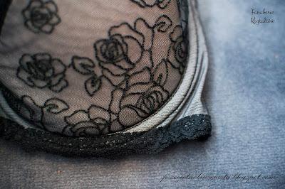 Ava 1309, stanik, majtki, figi, recenzja biustonosza, elegancka bielizna, seksowny komplet, koronki, szaro, czarny, stalowy 65G, test, opinia