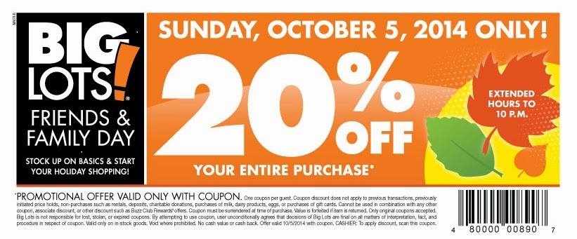 big lots friends and family sale october 2014