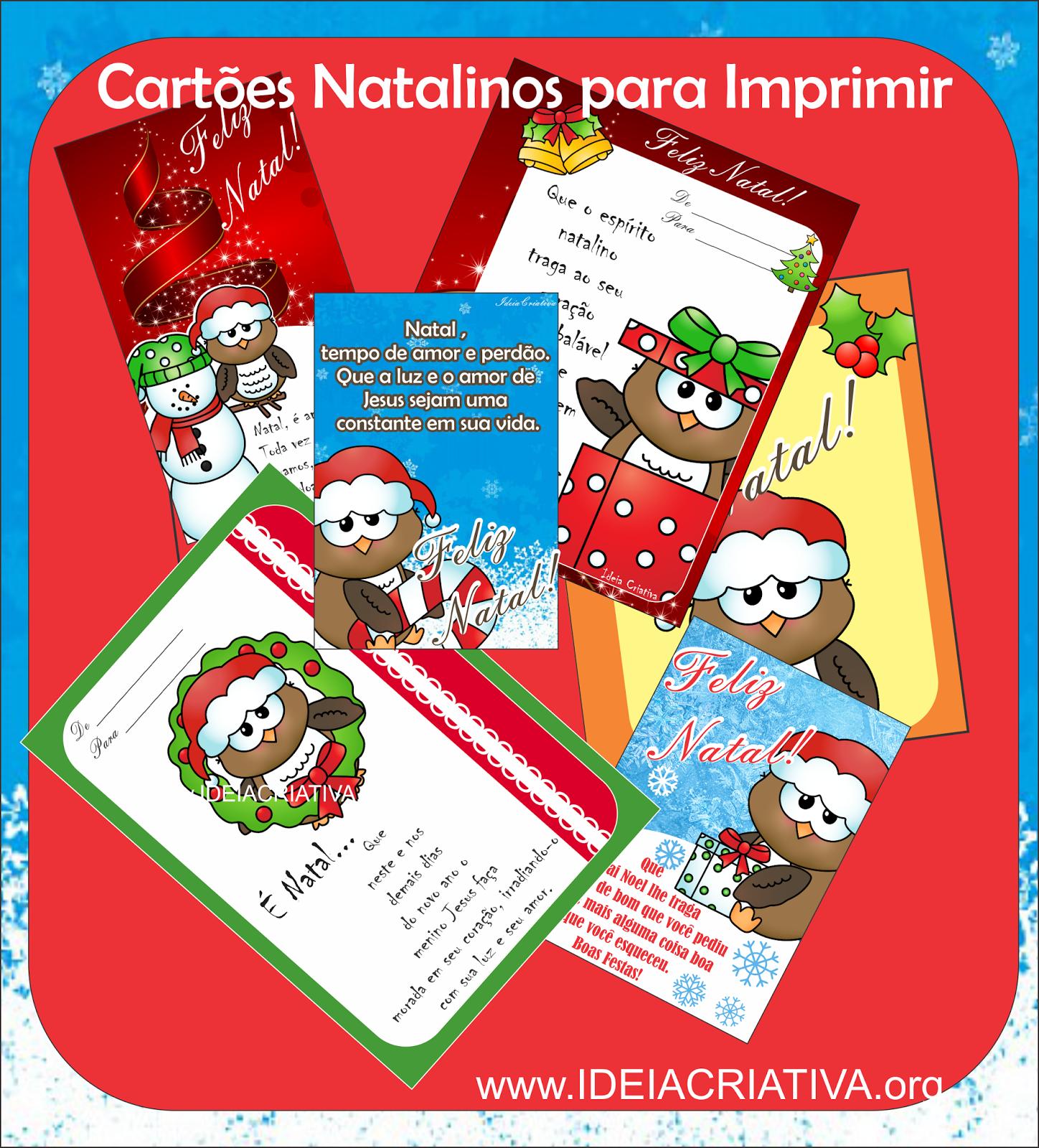 Cartões de Natal para Imprimir Grátis Corujinhas Natalinas